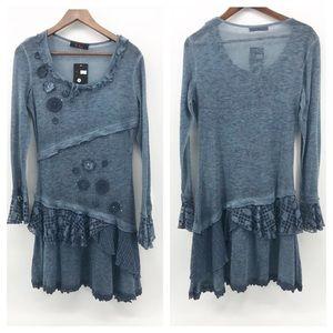 Unique Blue Gray Sheer Patchwork Sweater Dress | M